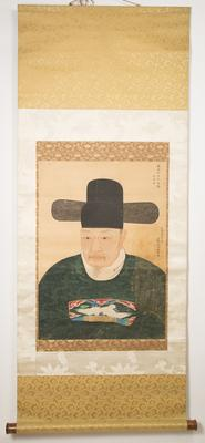 19th century Korean Ancestor Portrait Gouache on Paper, Hanging Scroll