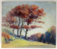 Oil on canvas painting by LaMiont Adelbert Warner (Am., 1876-1970), an impressionist rendering of a warm fall day (est.  $1,000-$1,500).