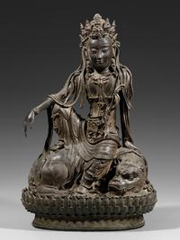 A Large 14th-15th century Bronze Figure of Avalokitesvara Seated on a Lion, Early Ming Dynasty