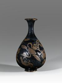 An Iron-Brown-Painted-black glazed vase (Yuhuchunping) Song Dynasty (A.D.  960-1279)