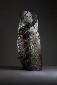Landscape, 2017 Black, green, white stoneware, porcelain, volcanic rock components, glaze, slips, resin.  27 x 20 x 79 inches