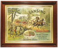 Pre-1900 Lansing Wagon Works Company (a precursor to the REO Truck Company) advertising sign in a frame.