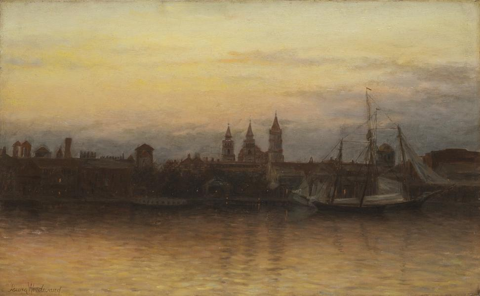Laura Woodward (American, 1834-1926) Twilight on St.  Augustine, ca.  1899.  Oil on canvas.  Collection of Mr.  and Mrs.  J.  Hyatt Brown