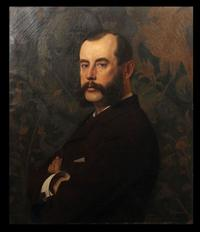 Wonderfully rendered oil portrait attributed to the French artist Jean Paul Laurens (1838-1921), depicting an unknown man of means (est.  $2,000-$3,000).