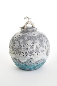 Sea Foam Lava Lidded Vessel Wheel thrown, Carved, sculpted, applied, high fired porcelain