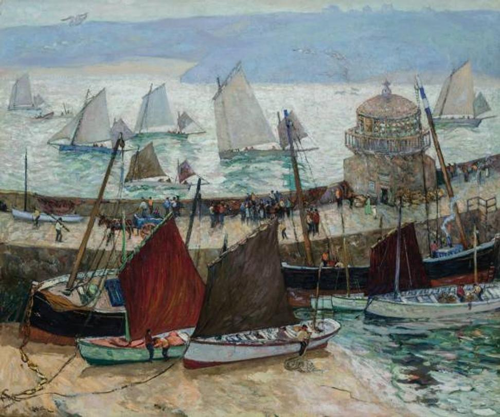 Oil on canvas painting by Australian-American artist Richard Hayley Lever (1876-1957), titled The Old Lighthouse and Fleets of St.  Ives ($162,500, a new world auction record).