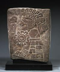 Mixtec Stone Stele, Running Warrior, ex-Museum