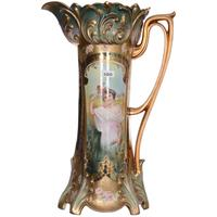 Magnificent 16-inch-tall R.  S.  Prussia mold #644 tankard with an iridescent Tiffany background and keyhole summer season portrait decor.