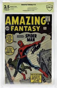 Marvel Comics Amazing Fantasy issue #15, (Aug.  1962), the first-ever appearance of Spider-Man in a comic book, signed by the legendary artist-illustrator Stan Lee ($13,750).