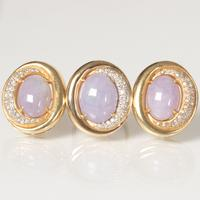 Lot 145- An 18kt.  Yellow Gold, Diamond and Lavender Jade Ring with Matching Earrings