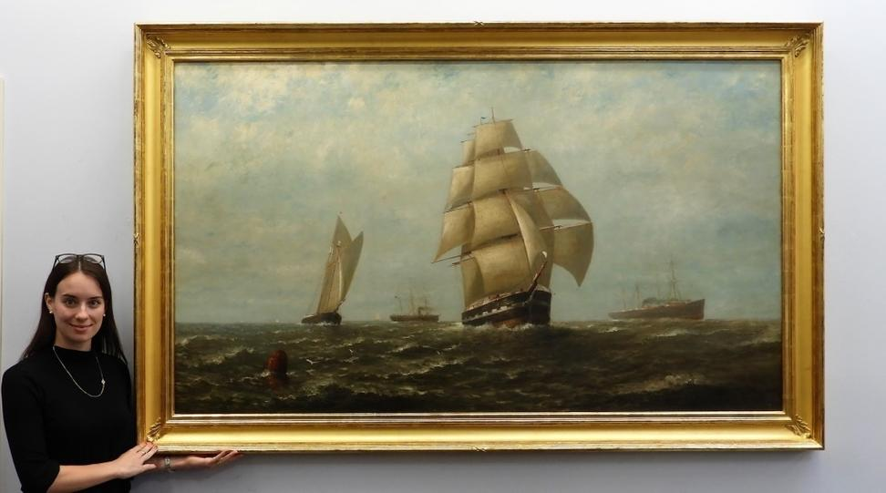 Large (50 inch by 80 inch, framed) oil on canvas maritime seascape painting of a brigantine ship at sea by Wesley Elbridge Webber (Am., 1841-1914) ($9,375).