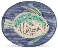 Pablo Picasso, Poisson Bleu, Painted and partially glazed white ceramic plate, 1953, 12 3/4 x 15 3/8 inches.  Est.  $6,000-8,000