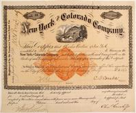 New York and Colorado Company (Colo.) stock certificate #14 for 200 shares, issued to Charles Curtiss, datelined New York 1892, with a rare 25-cent revenue imprint ($2,100).