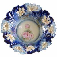 R.S.  Prussia cobalt blue bowl, 15 inches in diameter, a carnation mold example, yellow and cobalt blue with pink and yellow rose decor and gold stencil highlights.