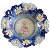 RS Prussia cobalt blue bowl, a 15-inch carnation mold example, yellow and cobalt blue with pink and yellow rose decor and gold stencil highlights ($10,000).