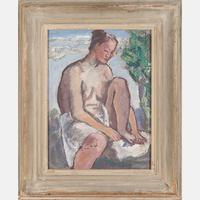Lot 8 – Boardman Robinson, Portrait of a Nude illustration for Leaves of Grass pub.  1921