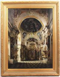 "Oil on canvas painting of a German church interior, signed ""P.  Andover"" (est.  $1,500-$3,000)."