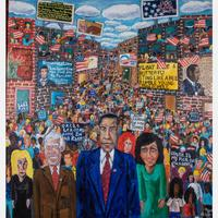 "Oil on canvas painting by Michelangelo Lovelace, Sr.  (Am., b.  1960), titled Stand Up and Be Counted, 48 inches by 45 inches, signed and dated ""10/2008"" lower right, signed verso (est.  $3,000-$5,000)."
