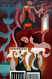 Músicos tocando un órgano (Musicians Playing an Organ), 1949, oil on wood, 72 x 48″, ​Dominic and Cristian Veloso Collection