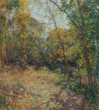 Willard Leroy Metcalf (American, 1858-1925), Partridge Woods, 1906, Signed and dated, Oil on canvas, 29 x 26 1/8 inches.  Estimate: $150,000-250,000.