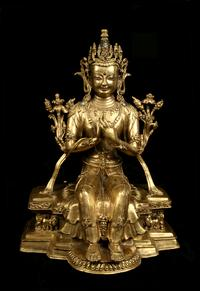 Maitreya Bodhisattva Central Tibet 15th century Gilt bronze with inset semi-precious stones and pigment