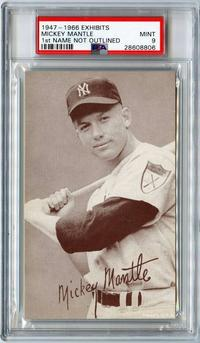 Mickey Mantle card, first name not outlined, graded PSA 9 Mint Pop 2, the highest-graded example known, distributed by Exhibit Supply Co.  (Chicago) (minimum bid: $1,000).