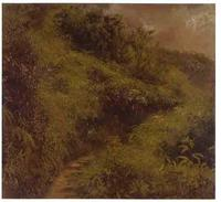 Frederic Edwin Church, Fern Walk, Jamaica, July 1865, oil on paper mounted on canvas, 12 ¼ x 13 ¼ in., OL.1981.73, Olana State Historic Site, New York State Office of Parks Recreation and Historic Preservation.