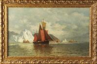 "William Bradford (American, 1823 – 1892) oil on canvas, 18"" x 30"", in original condition depicting sailing vessels, is being sold for a private Buffalo, NY estate."