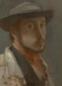 "Edgar Degas, French, 1834-1917; ""Self-Portrait in the Soft Hat"", 1857; oil on paper mounted on canvas; 10 ¼ x 7 ½ inches; Sterling and Francine Clark Art Institute, Williamstown, Massachusetts, USA"