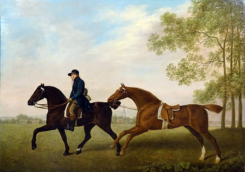 George Stubbs, Two Hacks, the property of Henry Ulrick Reay Esq of Burn Hall Co.  Durham and their blue-liveried groom in a landscape.