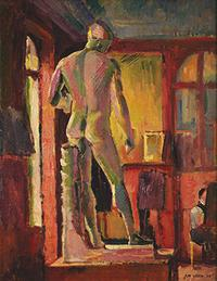 Max Weber (1881-1961) The Apollo in Matisse's Studio, 1908.  Oil on canvas 23 x 18 in.  (58.42 x 45.72 cm).  Estate of Max Weber, courtesy of Gerald Peters Gallery, New York © 2017 Estate of Max Weber, courtesy Gerald Peters Gallery, New York