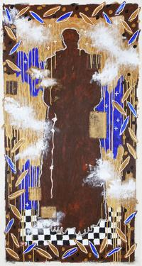 Harry Fonseca (Maidu/Nisenan/Portuguese/Hawaiian, 1946-2006) St.  Francis of Assisi, 1999.  Mixed media on canvas.  Museum purchase with funds provided by Harry S.  Nungesser in loving memory of his partner Harry Fonseca