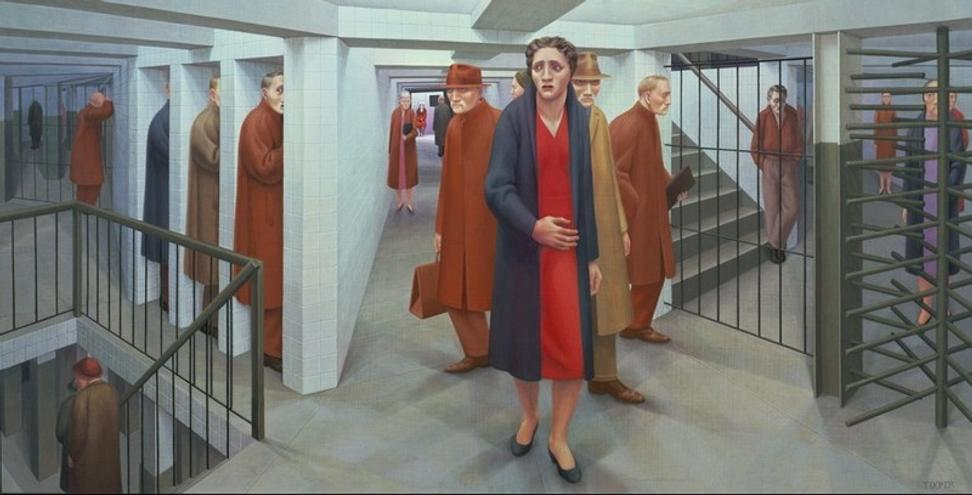George Tooker, The Subway, 1950, egg tempera on gesso panel, 18 1/8 x 36 1/8 in.  Whitney Museum of American Art, New York, purchased with funds from the Juliana Force Purchase Award, 50.23.  Photograph courtesy of the Whitney Museum of American Art.