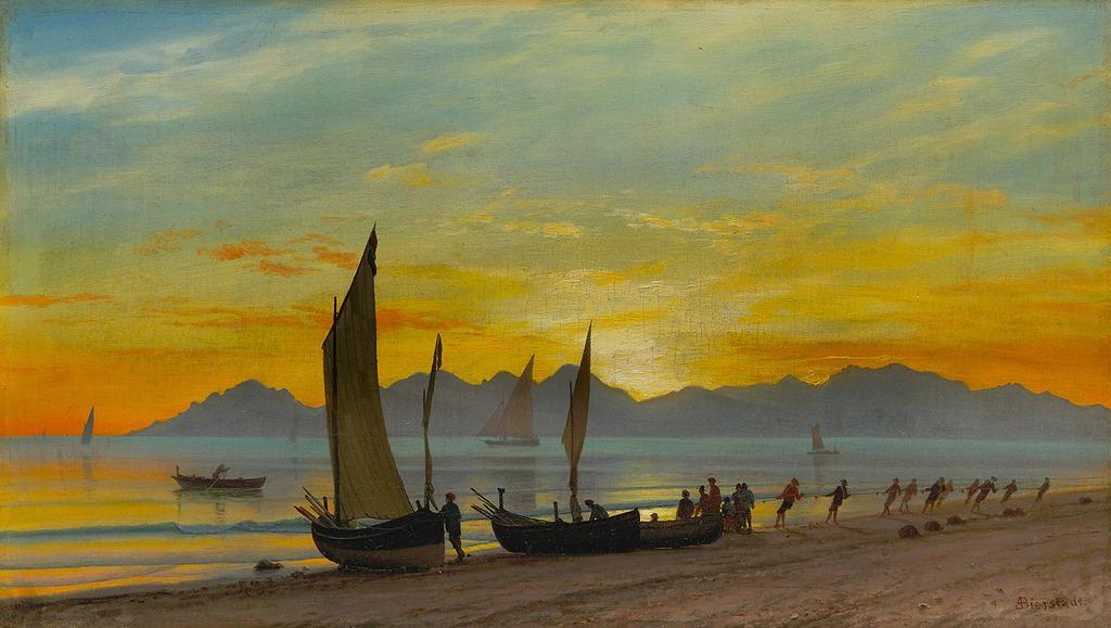 Albert Bierstadt Boats Ashore