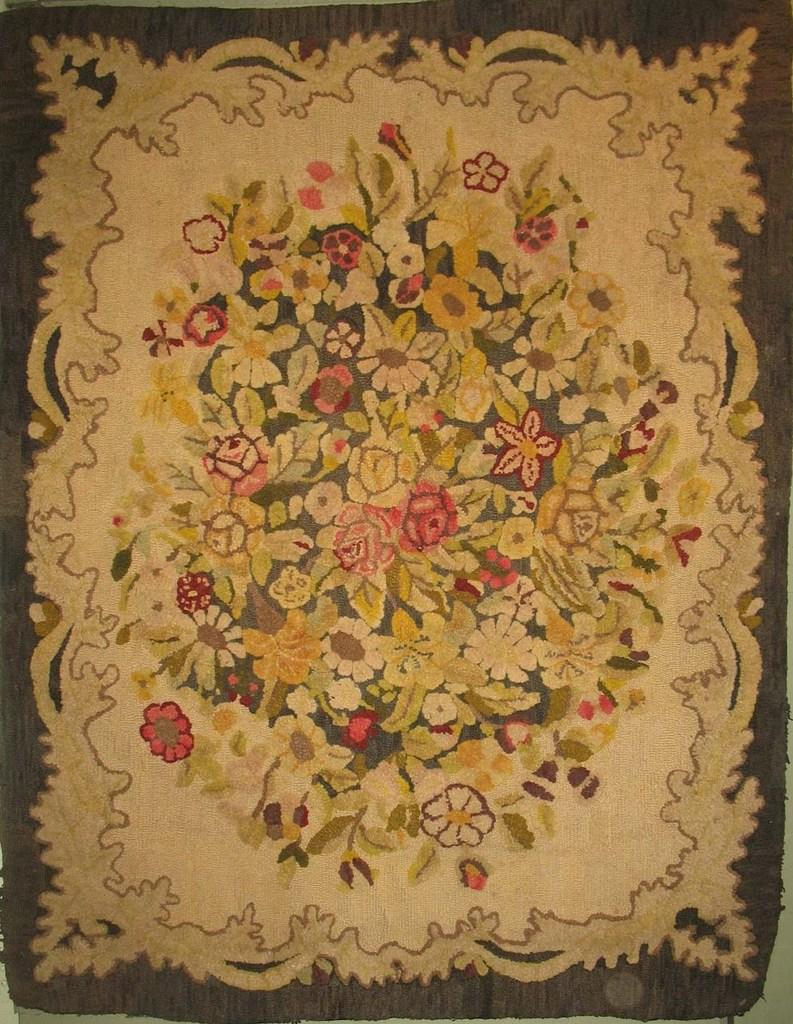 Florals Flourish In Antique Hooked Rugs