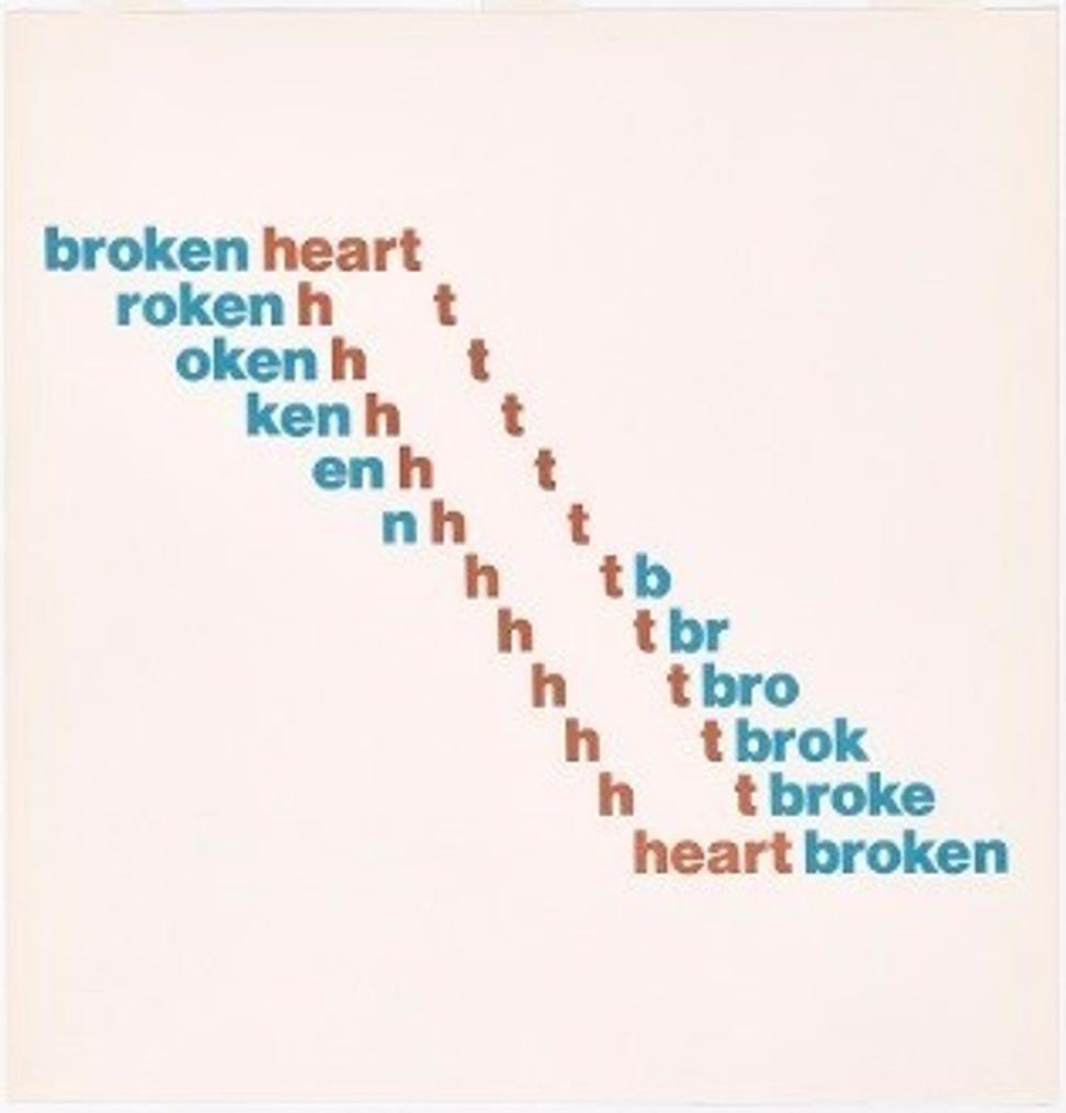 Broken/Heartbroken, Ian Hamilton Finlay (Scottish, 1925–2006) .  Lithograph from The Blue and the Brown Poems (New York: Atlantic Richfield Company & Jargon Press, 1968).  Getty Research Institute, Los Angeles (2016.PR.36).  By courtesy of the Estate of Ian Hamilton Finlay