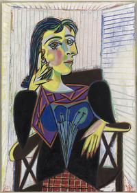 Pablo Picasso (Spanish, 1881–1973), Portrait of Dora Maar, 1937.  Oil on canvas, 31 7/8 x 23 5/8i n.  MPI58.  © 2017 Estate of Pablo Picasso / Artists Rights Society (ARS), New York.  Photo: Mathieu Rabeau, Musée Picasso © RMN-Grand Palais / Art Resource, NY