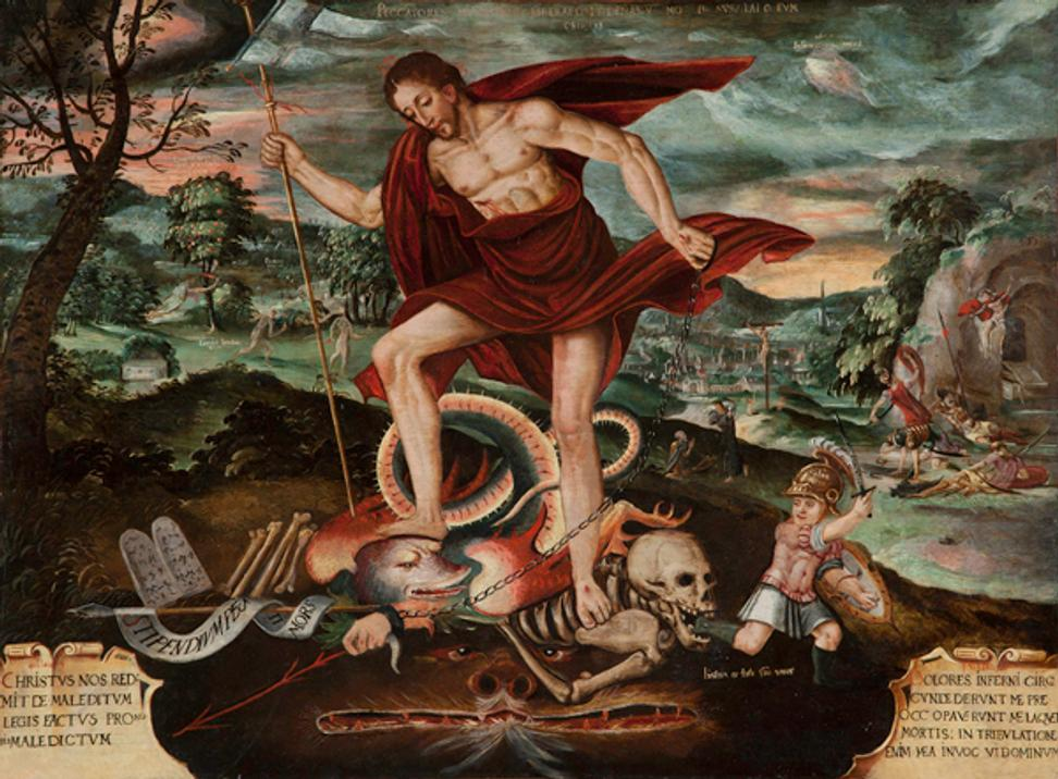 Christ Descending into Hell, Peruvian, 18th century, Oil on canvas, Roberta and Richard Huber Collection, Photograph by Robert Schwarz