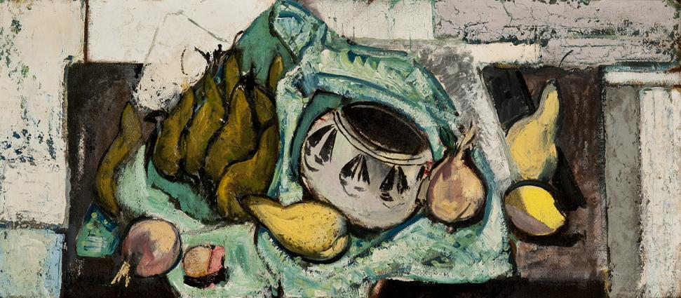 Alfred H.  Maurer, Still Life with Pears, c.  1928.  Oil on masonite, 13 1/2 x 30 1/2 inches