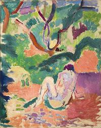 "Henri Matisse (1869-1954) Nude in a Wood (Nu dans la forêt; Nu assis dans le bois), 1906.  Oil on board mounted on panel 16 x 12 "" in.  (40.6 x 32.4 cm).  Brooklyn Museum, Gift of George F.  Of, 52.150 ©2016 Succession H.  Matisse / Artists Rights Society (ARS), New York"