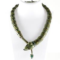 Signed Margot de Taxco Mexican silver green snake necklace with green enamel scales (est.  $800-$1,200).