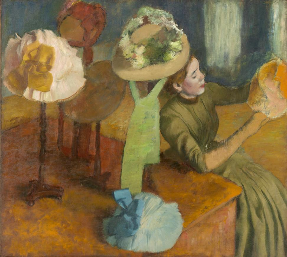 "Edgar Degas, French, 1834-1917; ""The Millinery Shop"", 1879-1886; oil on canvas; 39 3/8 x 49 9/16 inches; The Art Institute of Chicago, Mr.  and Mrs.  Lewis Larned Coburn Memorial Collection"
