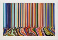 Ian Davenport.  Colourcade Buzz, 2015 Etching with chine collé on Hahnemühle Bright White 350gsm paper.  Part of a solo exhibition at Alan Cristea Gallery.