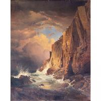"William Trost Richards (American, 1833-1905) The Otter Cliffs, Mount Desert Island, Maine , 1866.  Signed and dated lower right """"WM T Richards / 1866″"" Oil on panel backed canvas 36 1/4 x 29 inches.  Estimate: $40,000-100,000"