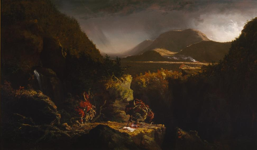 "Thomas Cole, Landscape with Figures: A Scene from ""The Last of the Mohicans,"" 1826.  Terra Foundation for American Art, Daniel J.  Terra Collection, 1993."