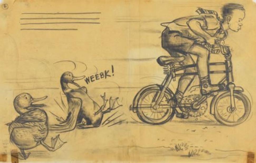 "Robert McCloskey (1914–2003), United States '""Look out!"" squawked Mrs.  Mallard, all of a dither.  ""You'll get run over!""', 1941, Make Way for Ducklings [The Viking Press 1941], graphite on tracing paper, Courtesy of The May Massee Collection, Emporia State University Special Collections and Archives, Emporia State University"