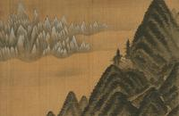 Jeong Seon (1676–1759).  Mount Geumgang Viewed from Danbal Ridge, leaf from the Album of Mount Geumgang, 1711.  Ink and light color on silk.  National Museum of Korea, Treasure no.  1875.
