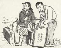 Miné Okubo, [Miné and Toku standing with their luggage, Berkeley, California], 1942.  Drawing.  Courtesy of the Japanese American National Museum, gift of Miné Okubo Estate, 2007.62