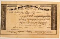 Rare onion skin Green Mountain Mining (Ontonagon Cty., Mich.) stock certificate, issued in 1862 for 25 shares ($2,250).