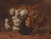 Original oil painting by Marie Madeleine Seebold Molinary (New Orleans, 1886-1948), titled Still Life of Chrysanthemums in Vase (1889) (est.  $4,000-$6,000).
